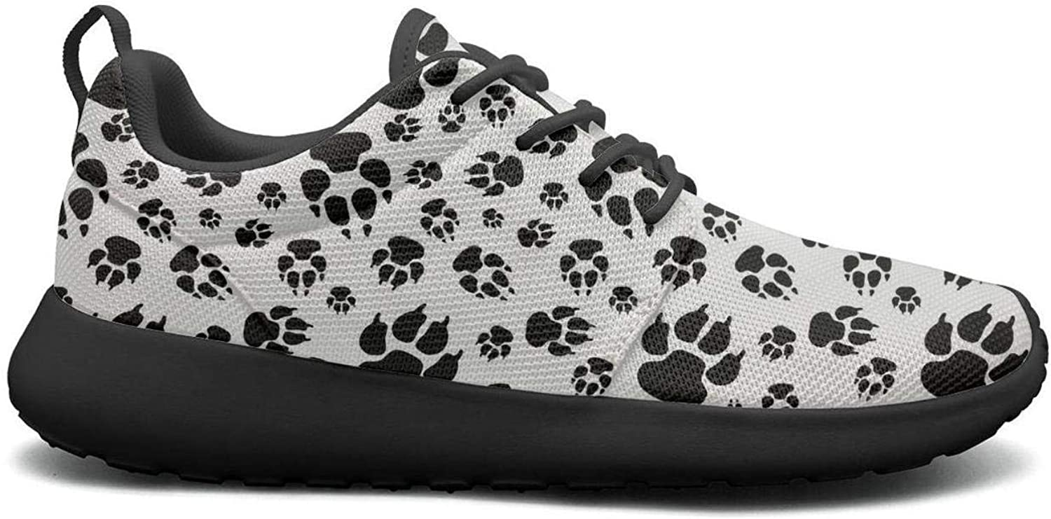 Wuixkas Bulldog Footprints Puppy Womens Lightweight Mesh Sneakers Cute Sports shoes