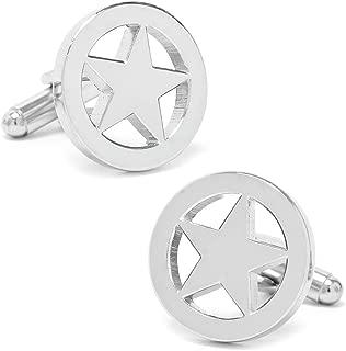 Executive Men's Cufflinks Silver Shiny Tone West Texas Lone Star Cuff Links