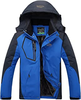 Nantersan Men's Outdoor Mountain Waterproof Fleece Ski Jacket Winter Warm Jacket Windproof Rain Jacket