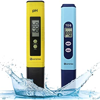 KETOTEK Water Quality Test Meter, PH Meter TDS Meter 2 in 1 Kit with 0-16.00 ph and 0-9990 ppm Measure Range for Hydroponics, Aquariums, Drinking Water, RO System, Fishpond and Swimming Pool