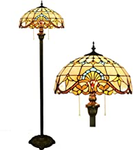 Tiffany Style Floor Lamp Baroque Design 2 Light Standing Light with Resin Base and Pull Chain for Bedroom Living Room Read...