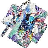LEMAXELERS LG K61 Hülle Wallet Folio Flip Premium PU Leder Cover mit Handschlaufe 3D Creative Painted Design Full Body Schutzhülle für LG K61 3D Peacock YX