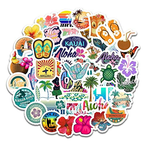 BLOUR 10/30/50 Uds. De Dibujos Animados Hawaiano Vacaciones Paisaje Graffiti Diario Bolsillo pequeño Fresco Impermeable Pegatina Juguete Decorativo al por Mayor
