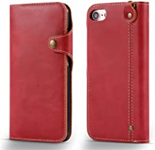 "iPhone 7 Plus Case, JWISLAND(TM) Button Wallet Case [ 3 Card Slots ] [Wrist Strap] PU Leather Flip Cover for iPhone 7 Plus (5.5"") (Red)"