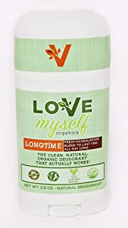 The MOST Clean, Organic and Natural Deodorant that Actually Works! Coconut Oil based, Aluminum Free, Vegan, All-Natural Organic Deodorant that keeps you Fresh Smelling. Great for Men, Women, Teens and Kids! The Love Myself Organics – LONGTIME Sandalwood Blend