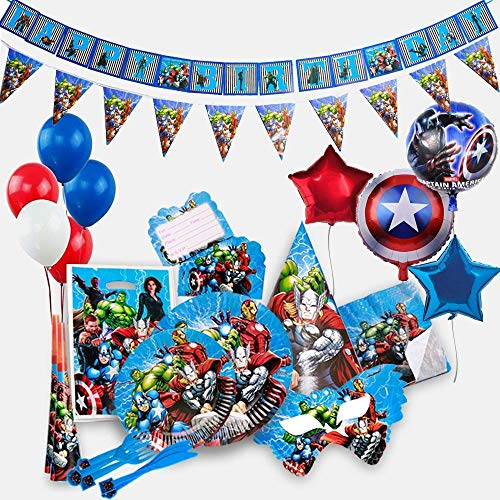 GK Galleria Avengers Party Supplies for 15 Superhero Guests with 200 Plus Items - Superhero Party Supplies - Avengers Birthday Party Supplies Decoration - Marvel Party Supplies - Captain America - Iron Man - Hulk