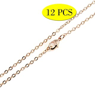 Wholesale 12PCS Rose Gold Plated Solid Brass Flat Cable Chains Fine Chain Bulk for Jewelry Making 18-30 Inch (26