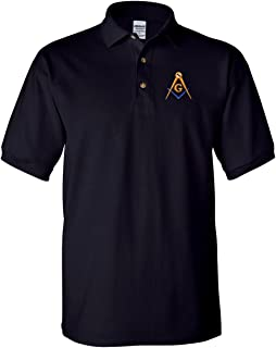 Mason Blue Lodge Polo Golf Shirt Square and Compass