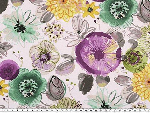 Zanderino a partire da 1 m: popeline, stampa digitale, fiori grandi, viola, verde, larghezza 150 cm
