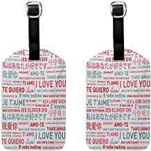Love Leather luggage tag label Emotional Messages in Various World Languages Valentines Theme Romantic Design White Grey Red (2 PCS)