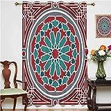 Cortinas opacas de estilo árabe con diseño persa de estilo antiguo con ojales victorianos, cortinas impresas, panel individual de 160 x 114 cm, para sala de estar, color rojo, gris y verde azulado