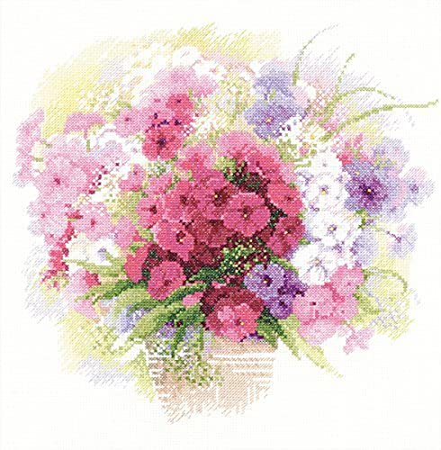 RIOLIS 14 Count WaterCouleur Phlox Counted Cross Stitch Kit, 11.75 x 11.75  by RIOLIS