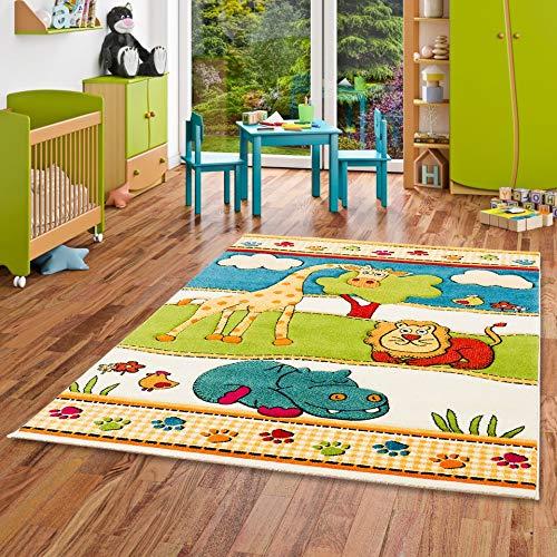 Savona Kinder und Spiel Teppich Kids Lustige Zoowelt Bunt in 5 Größen