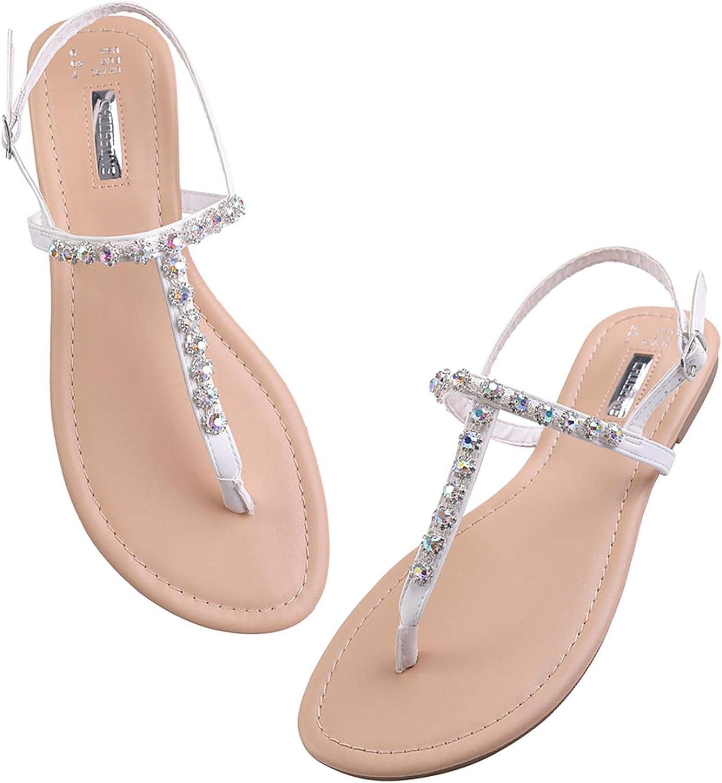 Over item Long-awaited handling Summer Womens T-Strap Buckle Rhinestone Flats Wedding Sandals Sa