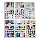 486 piezas Piedras de purpurina Diamantes de imitación autoadhesivos Juego grande, acrílico Multicolores preciosas Adhesivo de gemas de cristal Colores y formas variados para niños Niñas (6 hojas)