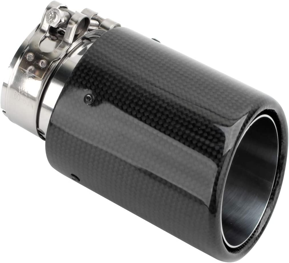 Hiwowsport Glossy Carbon Fiber Spasm price Exhaust Roll Side Max 53% OFF Pipe Muffler Ob