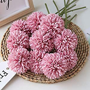 Homyu Artificial Chrysanthemum Ball Flowers Bouquet 10pcs Present for Important People Glorious Moral for Home Office Coffee House Parties and Wedding