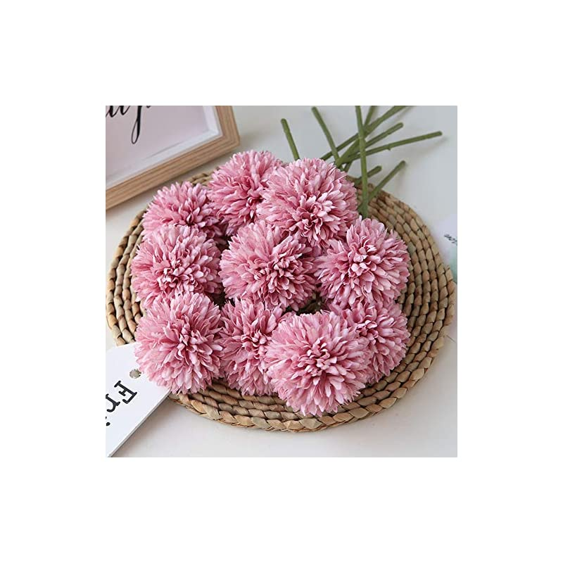 silk flower arrangements homyu artificial chrysanthemum ball flowers bouquet 10pcs present for important people glorious moral for home office coffee house parties and wedding