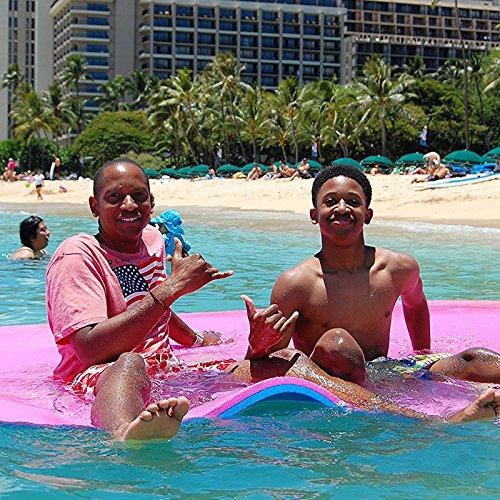 Moracle Colchoneta de Agua Flotante 18x6FT Almohadilla de Espuma 360/590kg Flotante Relajación en la Piscina/Playa Flotante de Agua con Almohada de Bricolaje (Rosa y Azul, 18x6FT)