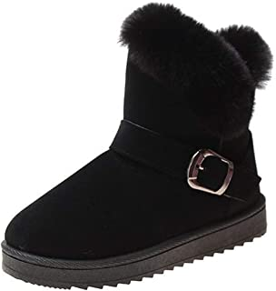 Women's Plush Winter Warm Bootie with Buckle Flat Bottom...