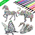 3D Coloring Puzzle Set,4 Animals Puzzles with 12 Pen Markers, Art Coloring Painting 3D Puzzle for Kids Age 7 8 9 10 11 12. Fun Creative DIY Toys Gift for Girls and Boy