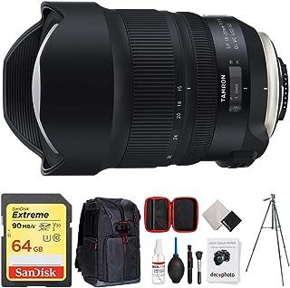 Tamron SP 15-30mm F/2.8 Di VC USD G2 Lens for Nikon Full-Frame & APS-C DSLRs (AFA041N-700) + 64GB Memory Card + Photo Camera Sling Backpack + Vanguard 60