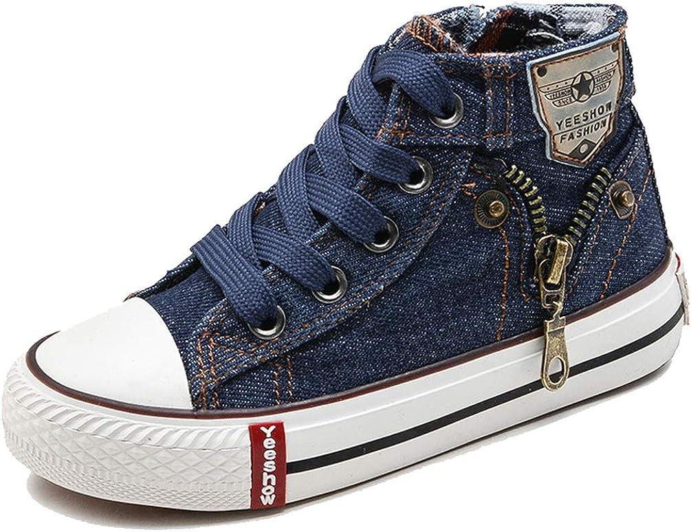 MURSFANDS Kids Washable Denim High Top Canvas Shoes Fashion Zipper Cotton Sport Sneakers (Infant/Toddler/Little Kid/Big Kid)