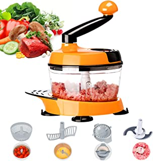 MIGECON Manual Vegetable Chopper, Hand Held Food Processor for Fruits/Vegetables/Meats/Nuts/Herbs/Onions/Salad, Meat Mincer with 2 Blades 3 Blades Mixer (Orange)