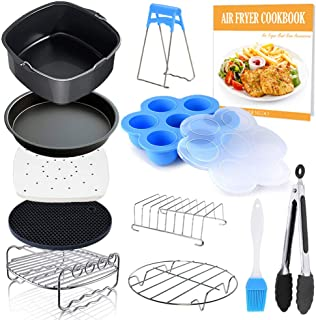 Square Air Fryer Accessories 11 pcs with Recipe Cookbook Compatible for Philips Air Fryer, COSORI and other Square AirFrye...