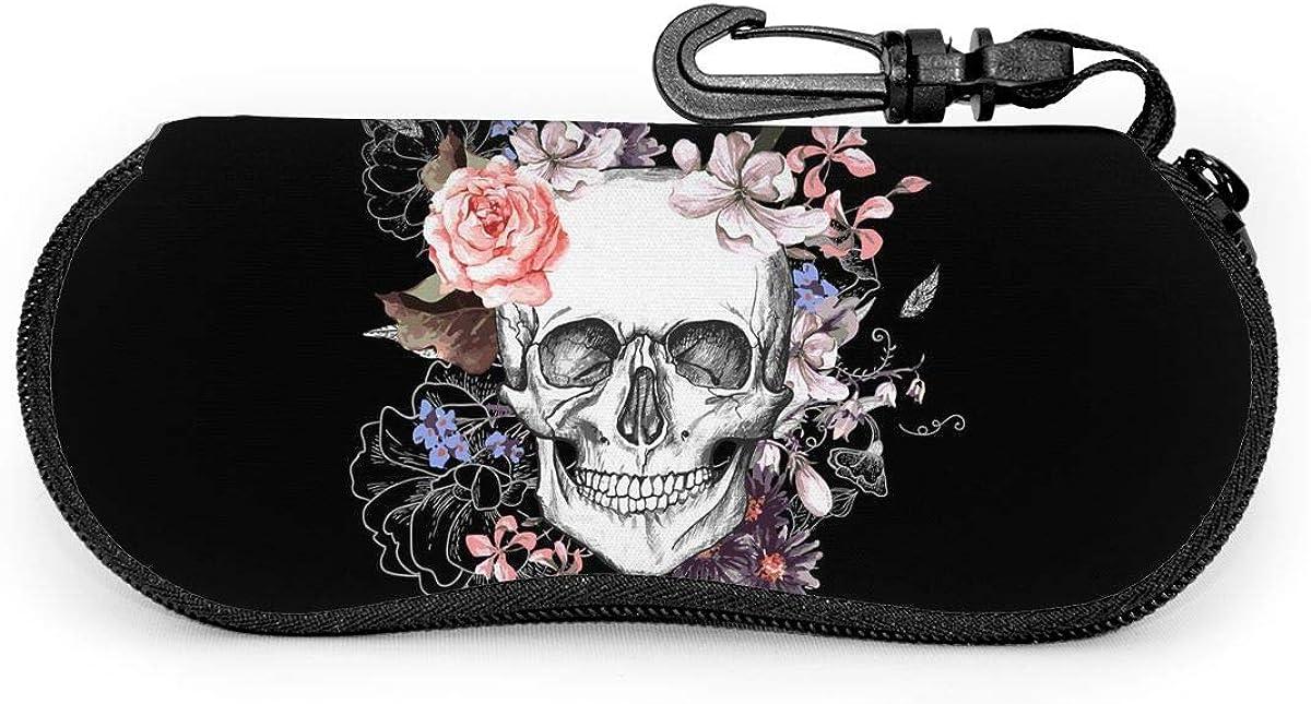 Black Floral Sugar Skull Sunglasses Soft Case Ultra Light Neoprene Zipper Eyeglass Case With Key Chain