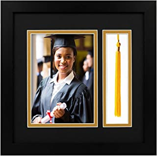 Golden State Art,10x10 Black Shadow Box Frame - 5x7 Photo - Tassel - Double Mat (Black Over Gold) - Square - Sawtooth Hanger - Wall Mount - Real Glass - Graduation Theme