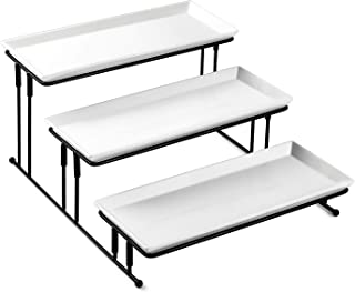 Sweese 733.101 3 Tiered Serving Stand - Stairstep Sturdier Food Display Stand with White Porcelain Platters, 3 Tier Serving Trays for Parties