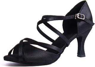 Syrads Chaussures de Danse Latine Femmes Salsa Bachata Moderne Tango Valse Chaussures Danse De Salon - Noir - 37 EU