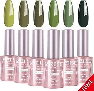 MIZHSE 18 ml Gel Nail Polish Set- Green Nail Gel 6 Colors Olive Neon Green with Gift Box Nail Gel Soak Off UV LED Salon Manicure Starter Kit Bigh Capacity