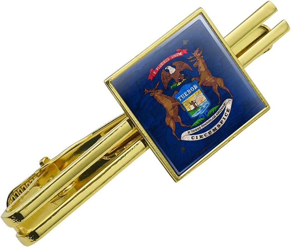 GRAPHICS & MORE Rustic Michigan State Flag Distressed USA Square Tie Bar Clip Clasp Tack Gold Color