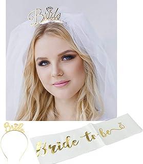 Fashband Bride to Be Sash y Diadema Tiara y hombro Longitud Velo Set Accesorios de boda para despedida de soltera Despedida de soltera Fiesta de gallina (Oro)