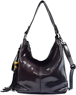 Adebie - Brand Women Handbag Genuine Leather Shoulder Bags Female Classic Serpentine Prints Tote Bag Ladies Tassel Luxury Messenger Bag L31 x H30 x W13cm Purple red [L31 x H30 x W13cm]
