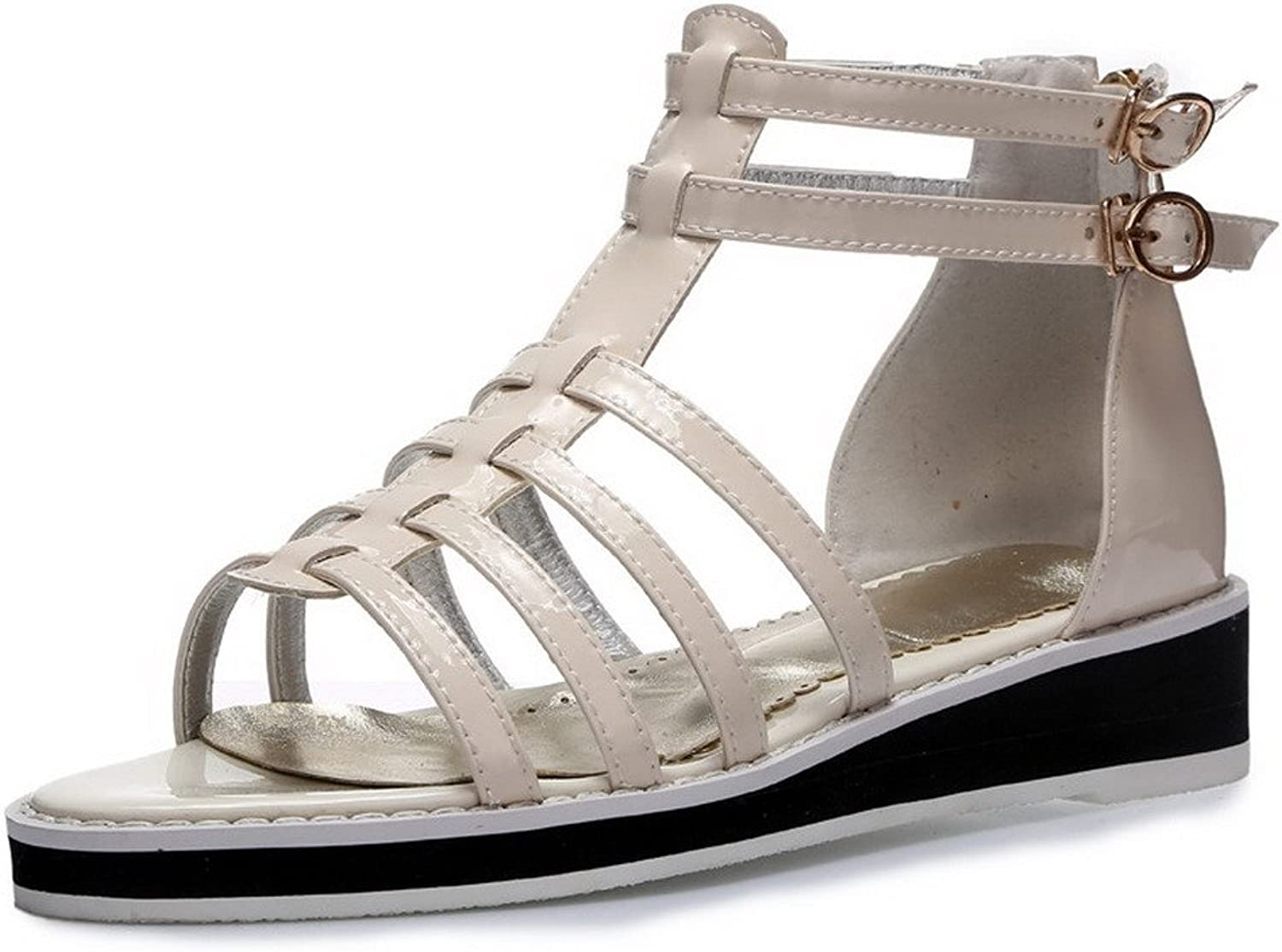 AmoonyFashion Women's Open Toe Pull On Cow Leather Solid Low Heels Sandals
