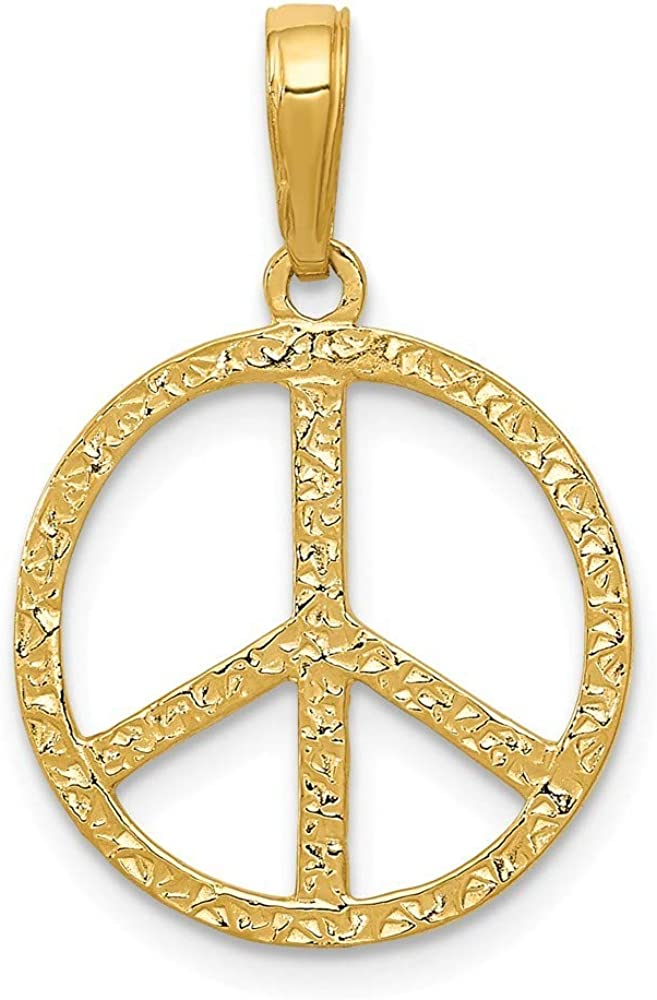 Roy Rose Jewelry 14K mart Yellow Peace Pendant Gold Sign National uniform free shipping