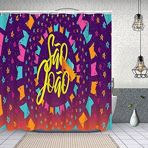 Cortina de Baño con 12 Ganchos,Celebración Tradicional brasileña Festa Junina,Cortina Ducha Tela Resistente al Agua para baño,bañera 150X180cm