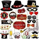 Qpout Las Vegas Apoyos De La Cabina De La Foto del Casino Divertido Kit De Accesorios para Selfies con Tema De Póquer para Bricolaje para Decoración De Fiesta Nocturna 25 Piezas