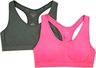 Girls' Big Crochet Back Seamless Sport Bra 2 Pack