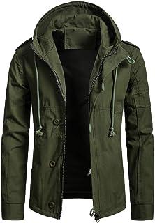 Mogogo Men's Autumn Winter Zipper Cotton Hooded Jacket Windbreakers
