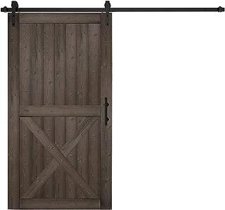 EaseLife 42in x 84in Sliding Barn Wood Door Slab with 8FT Sliding Track Hardware Kit & Handle,DIY Unfinished Panel,Nature Hemlock,X-Frame,Brown