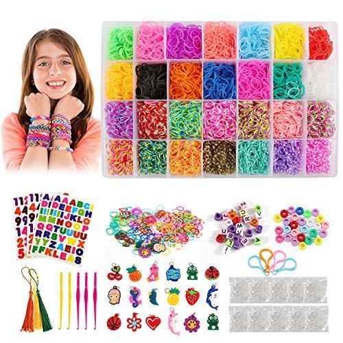 BelleStyle Loom Bands, 10000 Piezas 28 Colores Elástica Bandas de Goma Cintas de Telar Kit para Hacer Joyas Brazaletes Pulseras y Loom Juguetes, Juego Creativo para Niños