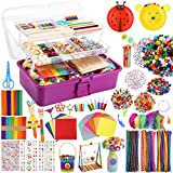 Caydo 3000 Pcs Kids Art and Crafts Supplies, Toddler DIY Craft Art Supplies Set Include Pipe Cleaners, Pom Poms, Portable 3 Layered Folding Storage Box Great Gift for Kids