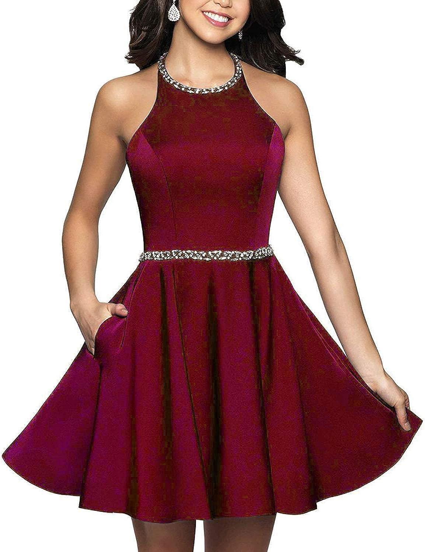 XingMeng Halter Beaded shoesr Homecoing Dress Open Back Mini Prom Dress