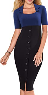 HOMEYEE Women's Square Neck Short Sleeve Wear to Work Dress with Buttons B472