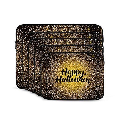 KUUDJIT Happy Halloween Gold 12/13/15/17 Inch Laptop Sleeve Bag for MacBook Air 13 15 MacBook Pro Portable Zipper Laptop Bag Tablet Bag,Diving Fabric,Waterproof