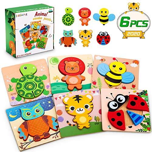 lenbest 6 Pcs Kinder Holzpuzzle, Lebendiger Hintergrund Steckpuzzle Holz Montessori Spielzeug, 3D Ungiftig Tier Puzzle Lernspielzeug Weihnachten Geburtstag Geschenk für 1 2 3 Baby Kinder